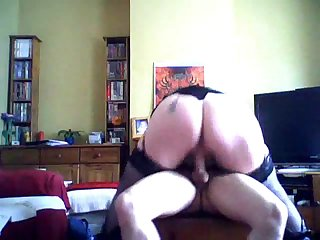 mature mom wears black stocking for..