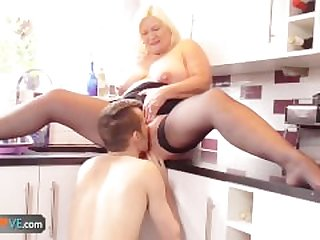 BBW Mature fucks with a boy that was..