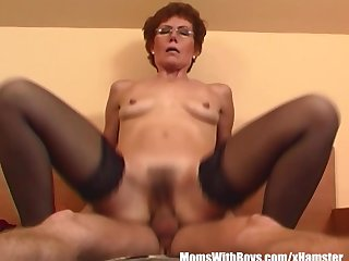 Redhead Grandma In Laced Stockings Fucks..